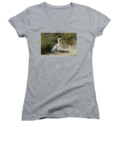 Women's V-Neck T-Shirt (Junior Cut) featuring the photograph Henry The Heron by Benanne Stiens