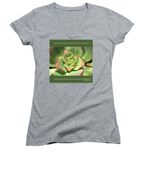 Hens And Chicks Succulent And Design Women's V-Neck