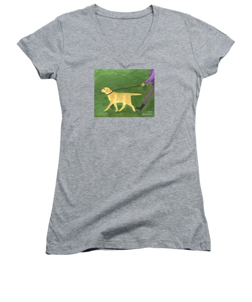 Her Dog Took Her Everywhere Women's V-Neck T-Shirt (Junior Cut)