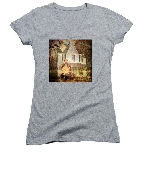 Her Memories Are Written Women's V-Neck T-Shirt (Junior Cut) by Bellesouth Studio