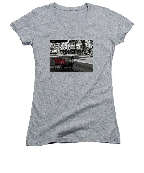 Women's V-Neck featuring the photograph Her Red Cart by Lorraine Devon Wilke