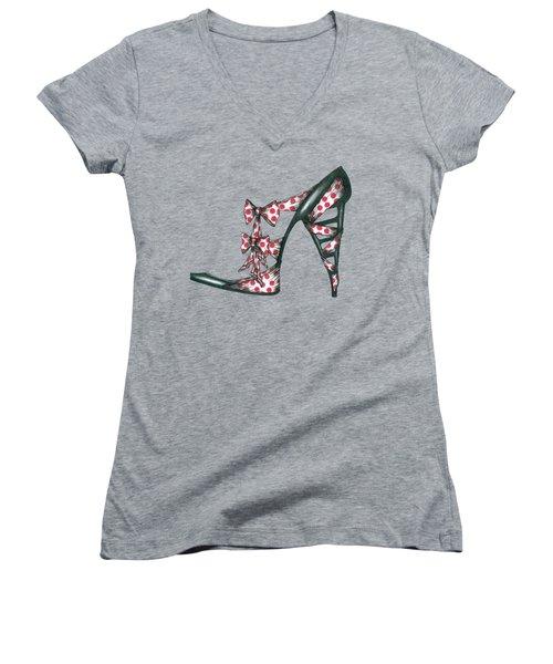 Her Shoe  Women's V-Neck T-Shirt (Junior Cut) by Herb Strobino