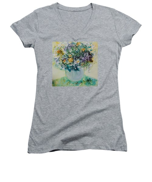 Women's V-Neck T-Shirt (Junior Cut) featuring the painting Herbal Bouquet by Joanne Smoley