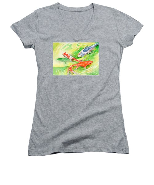 Here Comes Moby Women's V-Neck T-Shirt (Junior Cut) by Judith Levins