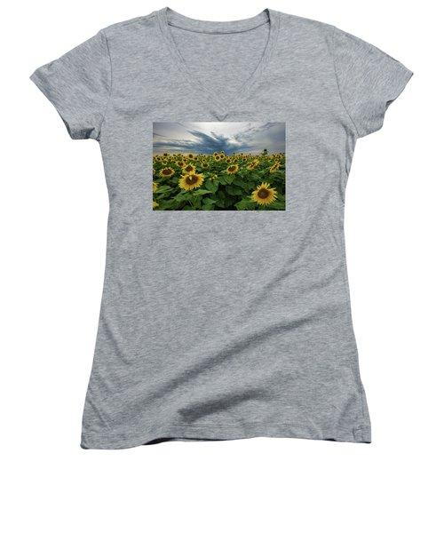Here Comes The Sun Women's V-Neck T-Shirt (Junior Cut) by Aaron J Groen