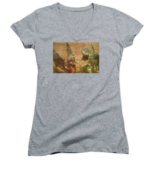 ....here There Be Dragons Women's V-Neck T-Shirt (Junior Cut) by Martina Fagan