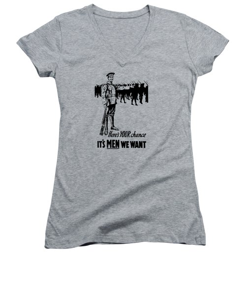Women's V-Neck T-Shirt (Junior Cut) featuring the mixed media Here's Your Chance - It's Men We Want by War Is Hell Store