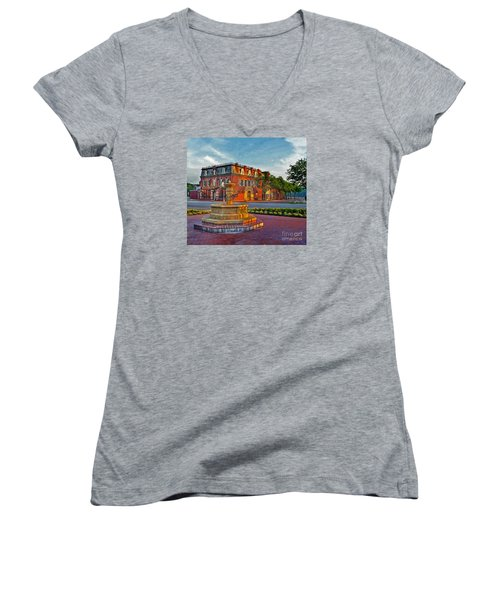 Hermannhof Festhalle Women's V-Neck T-Shirt (Junior Cut) by William Fields