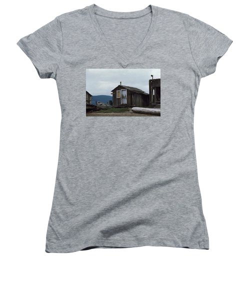Women's V-Neck T-Shirt (Junior Cut) featuring the photograph Hermit by Laurie Stewart