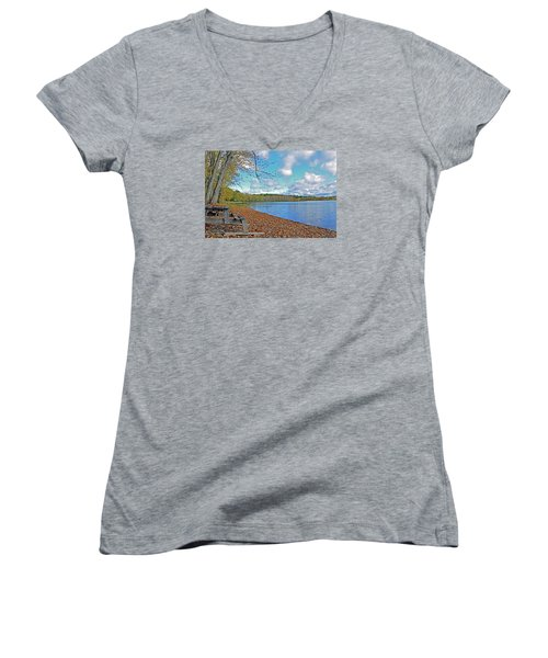 Fall Picnic In Maine Women's V-Neck T-Shirt