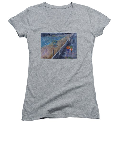 Women's V-Neck T-Shirt featuring the painting Hermosa Beach Rain by Jamie Frier