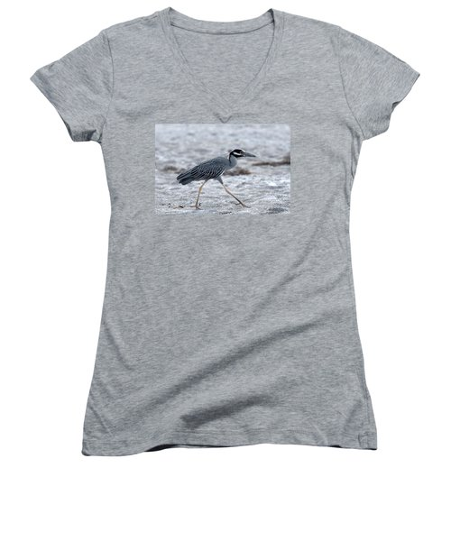 Yellow-crowned Night Heron On A Mission Women's V-Neck T-Shirt
