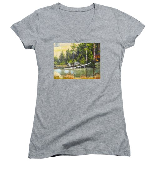 Heron Perch Women's V-Neck (Athletic Fit)