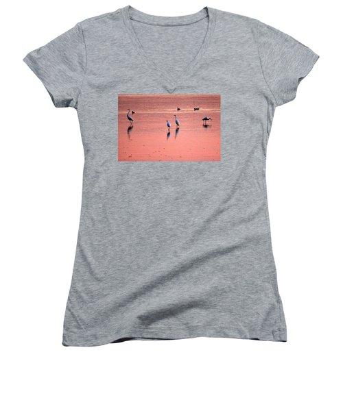 Herons At Sunrise Women's V-Neck T-Shirt