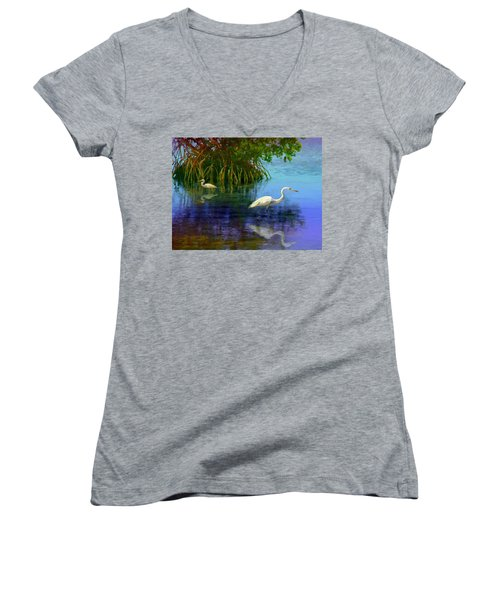 Herons In Mangroves Women's V-Neck T-Shirt (Junior Cut) by David  Van Hulst