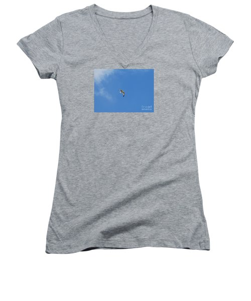 Women's V-Neck T-Shirt (Junior Cut) featuring the photograph Herring Sea Gull 20120409_244a by Tina Hopkins