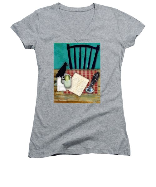 Women's V-Neck T-Shirt (Junior Cut) featuring the digital art He's Gone by Lisa Noneman