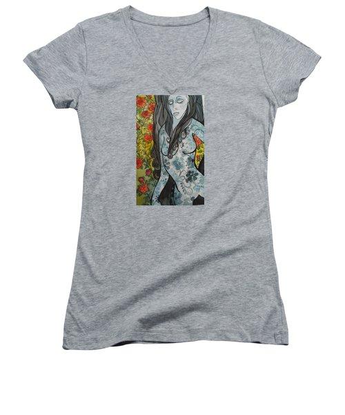 Hesitation Women's V-Neck T-Shirt (Junior Cut) by Claudia Cole Meek