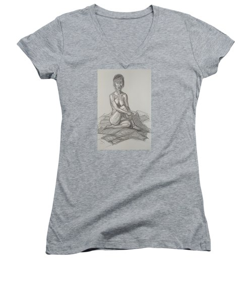 Women's V-Neck T-Shirt (Junior Cut) featuring the drawing Hey Yong Seated by Donelli  DiMaria