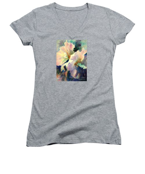 Women's V-Neck T-Shirt (Junior Cut) featuring the painting Hibicus Up Close by Kathy Braud