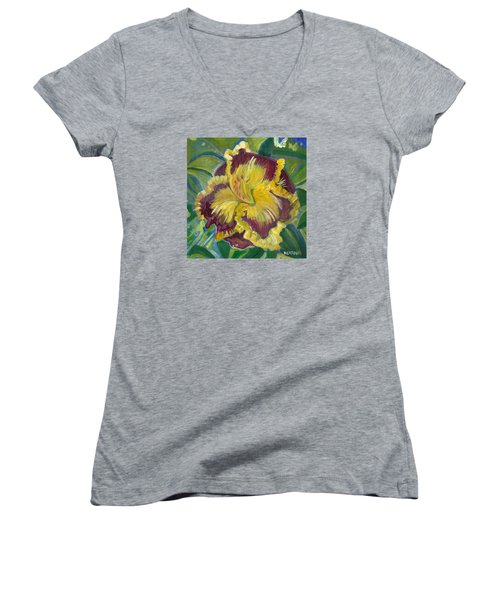 Women's V-Neck T-Shirt (Junior Cut) featuring the painting Hibiscus 2 by John Keaton