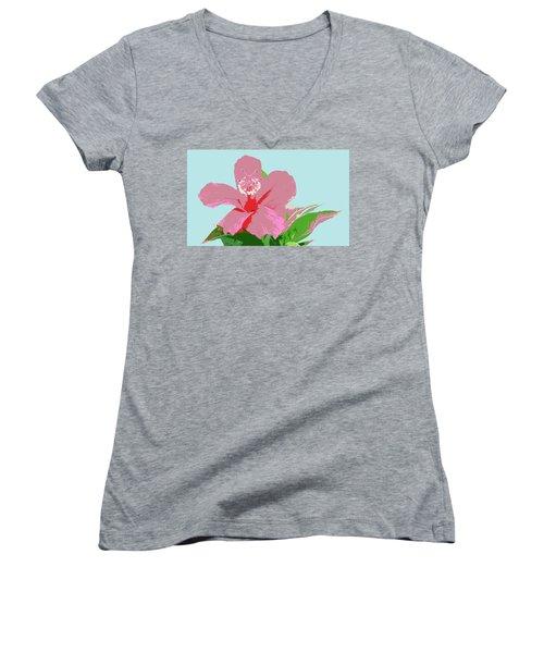 Women's V-Neck T-Shirt (Junior Cut) featuring the digital art Hibiscus Flower Art - 3 by Karen Nicholson