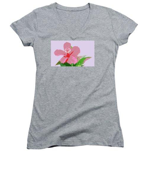 Women's V-Neck T-Shirt (Junior Cut) featuring the digital art Hibiscus Flower Art by Karen Nicholson