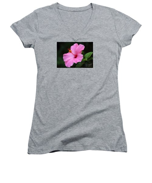 Hibiscus In Pink Women's V-Neck T-Shirt (Junior Cut) by Lisa L Silva