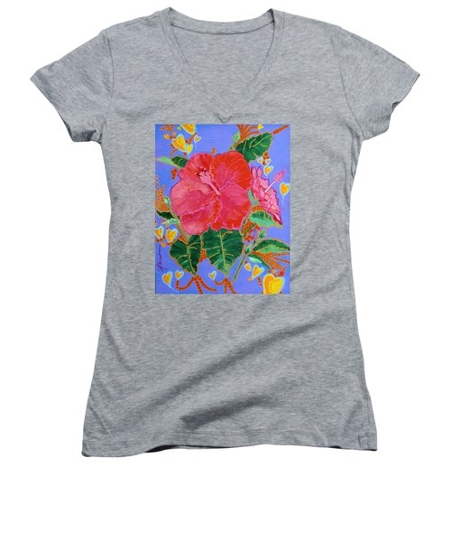 Hibiscus Motif Women's V-Neck (Athletic Fit)