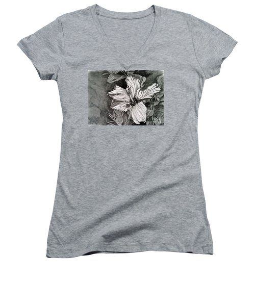 Women's V-Neck T-Shirt (Junior Cut) featuring the drawing Hibiscus by Terri Mills