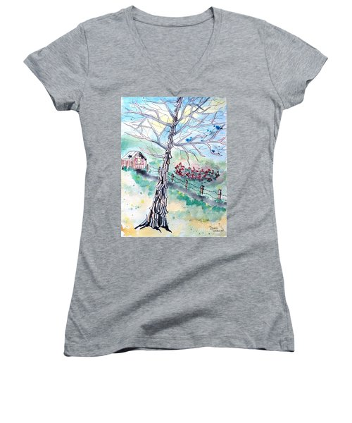 Women's V-Neck T-Shirt featuring the painting Hickory by Denise Tomasura