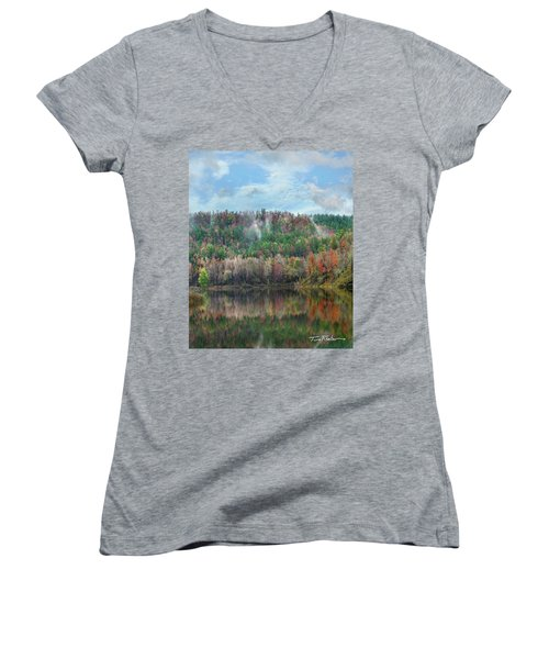 Hickory Forest Women's V-Neck T-Shirt (Junior Cut) by Tim Fitzharris