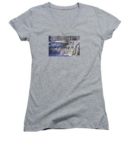 Hickory Nut Grove Landscape Women's V-Neck T-Shirt (Junior Cut) by Raymond Kunst