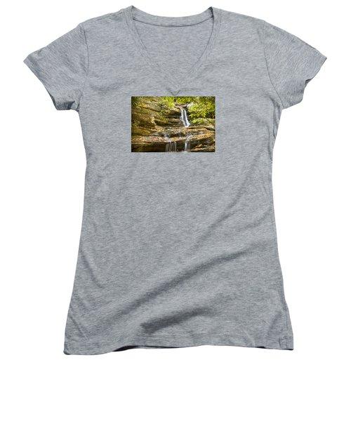Women's V-Neck T-Shirt (Junior Cut) featuring the photograph Hidden Falls-hanging Rock State Park by Bob Decker