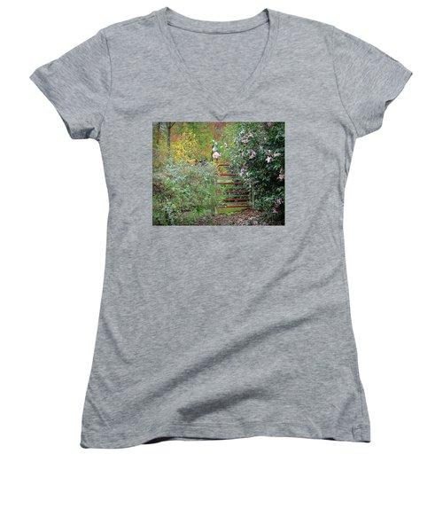 Hidden Gate Women's V-Neck T-Shirt (Junior Cut) by Bellesouth Studio