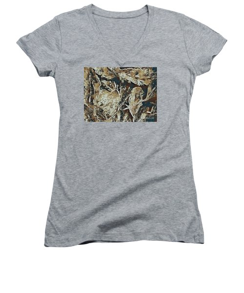 Women's V-Neck T-Shirt (Junior Cut) featuring the photograph Hidden In Plain Sight by Kathie Chicoine