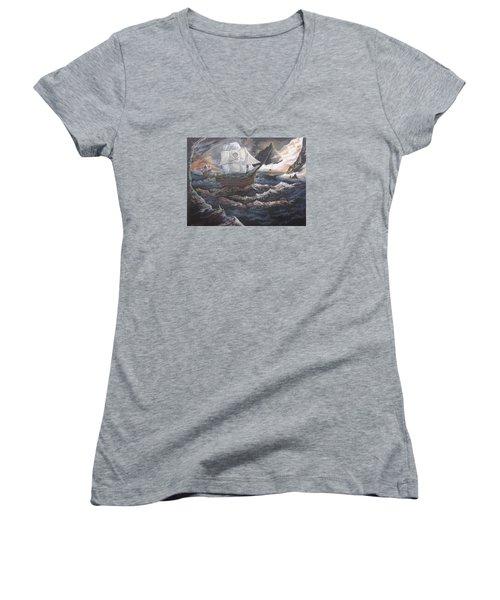 Hidden Skull Cove Women's V-Neck T-Shirt (Junior Cut) by Kevin F Heuman