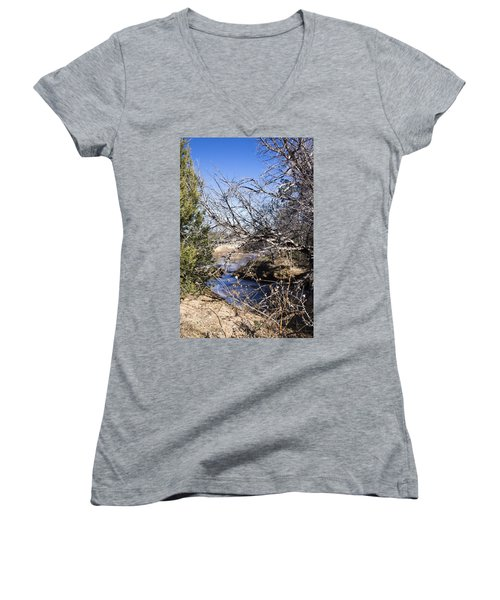 Hidden Swimming Hole Women's V-Neck T-Shirt (Junior Cut) by Ricky Dean