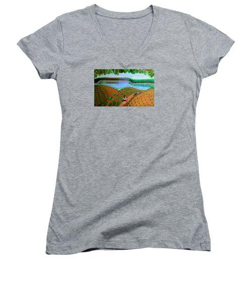Hidden Water From Above Women's V-Neck T-Shirt (Junior Cut) by Lorna Maza