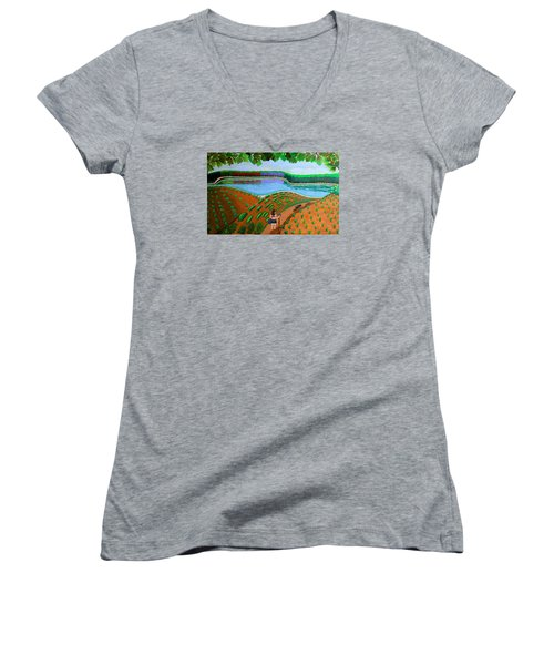 Hidden Water From Above Women's V-Neck (Athletic Fit)