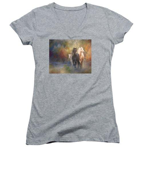 Hiding In The Mist Women's V-Neck T-Shirt