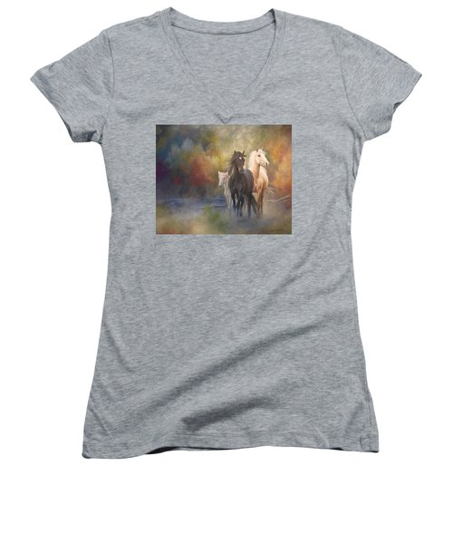 Hiding In The Mist Women's V-Neck (Athletic Fit)