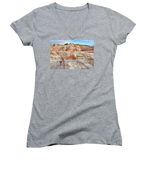 High Above Valley Of Fire Women's V-Neck T-Shirt (Junior Cut) by Ray Mathis