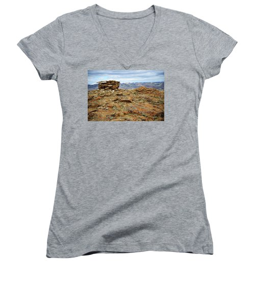 High Desert Cairn Women's V-Neck T-Shirt (Junior Cut) by Eric Nielsen