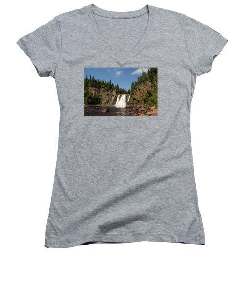 High Falls At Tettegouche State Park Women's V-Neck