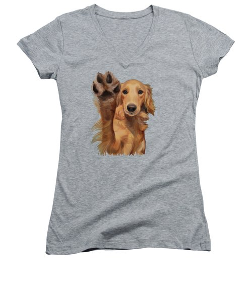 Women's V-Neck T-Shirt (Junior Cut) featuring the painting High Five by Jindra Noewi