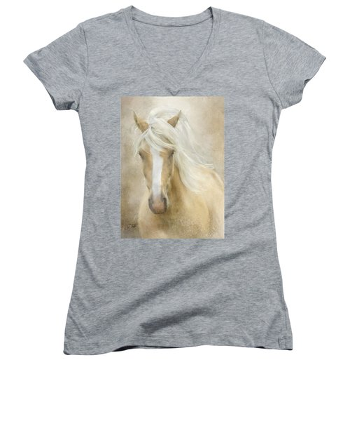 Women's V-Neck T-Shirt (Junior Cut) featuring the painting Spun Sugar by Colleen Taylor