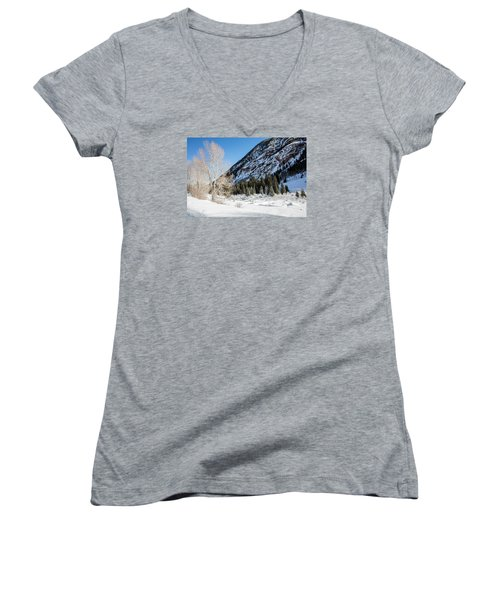 High In The Rockies Before Independence Pass Women's V-Neck T-Shirt (Junior Cut) by Carol M Highsmith