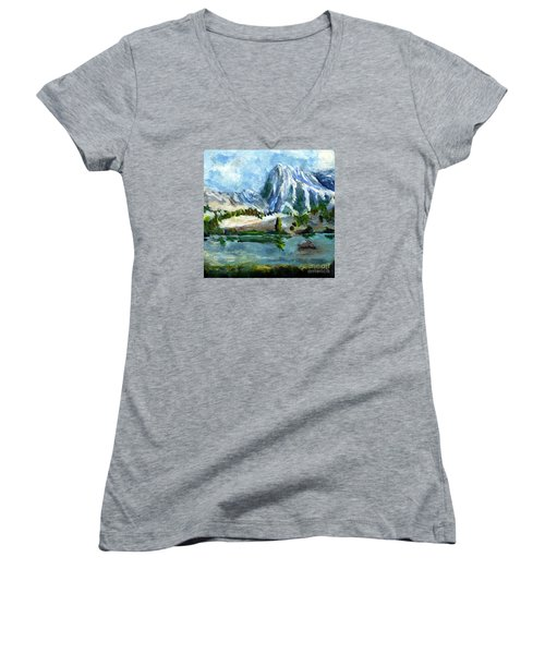 High Lake First Snow Women's V-Neck T-Shirt (Junior Cut) by Randy Sprout