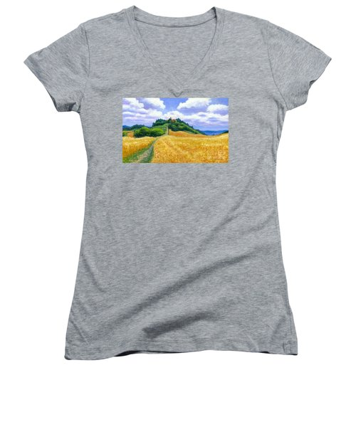 High Noon Tuscany  Women's V-Neck T-Shirt (Junior Cut) by Michael Swanson